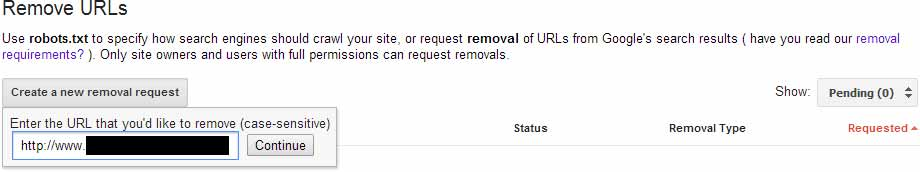 Google Webmaster Tools URL Removal Step #1