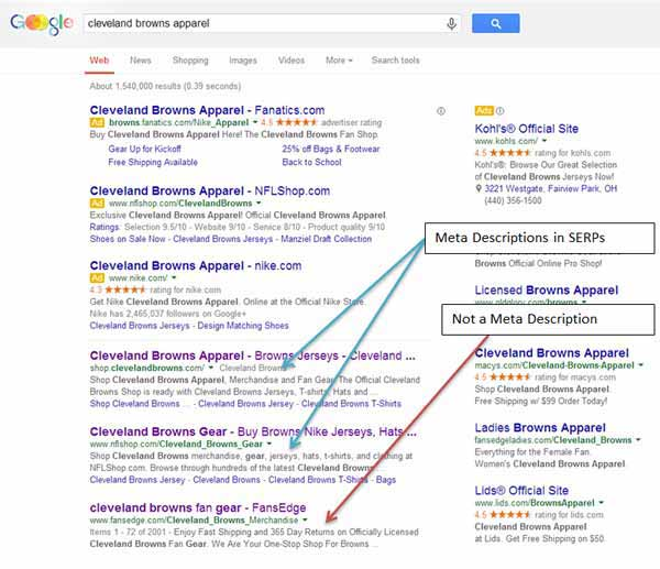 Examples of Meta Descriptions being pulled into Google SERPs.