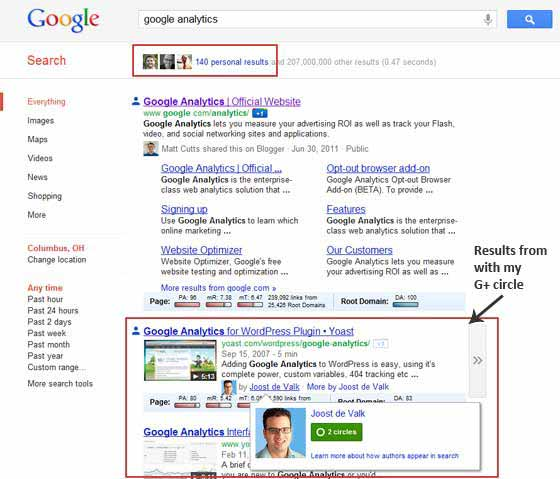 Google Search Plus Your World   Personalized Results Screenshot #1