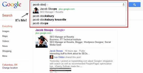 Google Search Plus Your World   Google+ Profile in Search Screenshot #1