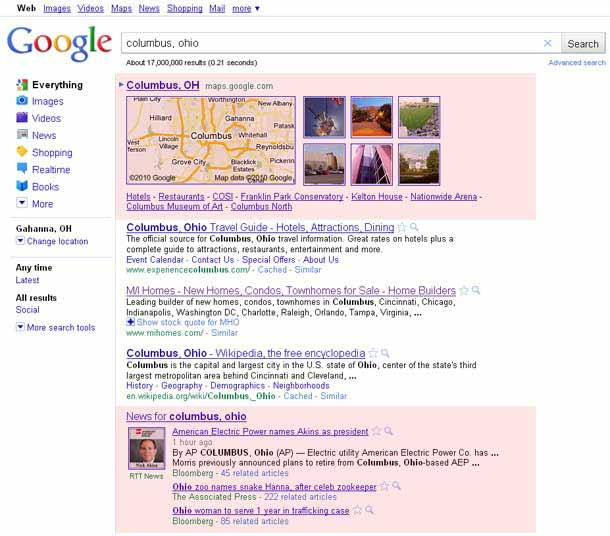 Universal Search Result