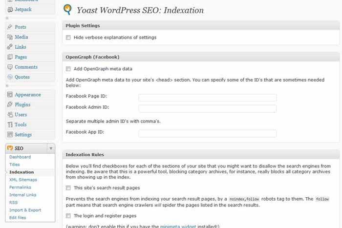 Wordpress SEO by Yoast - Indexation Dashboard