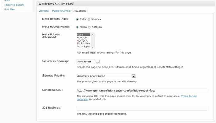 Wordpress SEO by Yoast - In-Post Dashboard