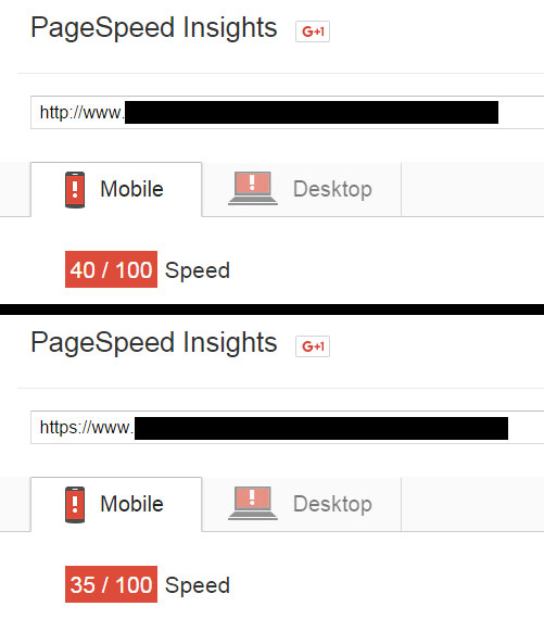 HTTPS for SEO - Google Page Speed Insights test