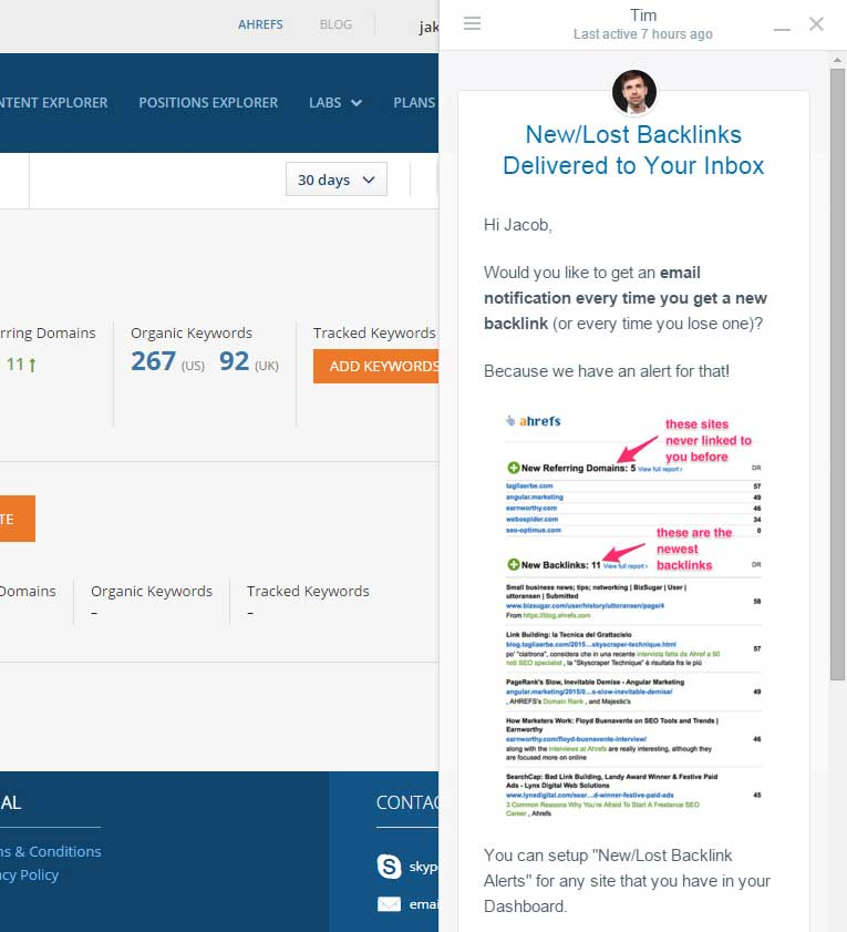 AHrefs review: New and Lost Backlinks Report