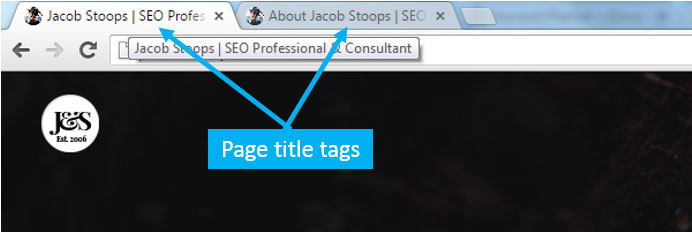 Examples of page title tags showing up in Google's Chrome browser