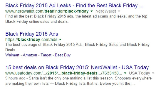 Compelling title tag example in Google SERPs