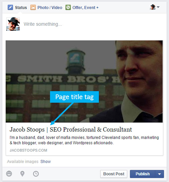 Examples of page title tags being pulled into a share on Facebook