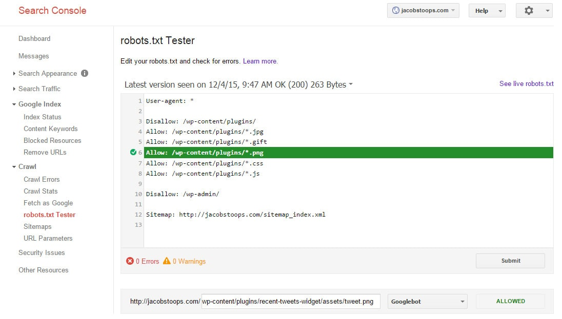 Robots.txt testing tool example