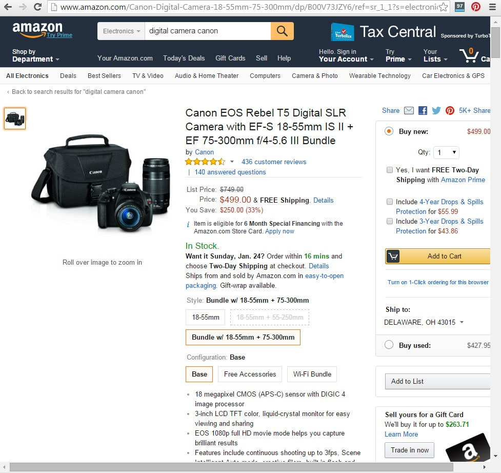 Amazon e-commerce product page SEO example