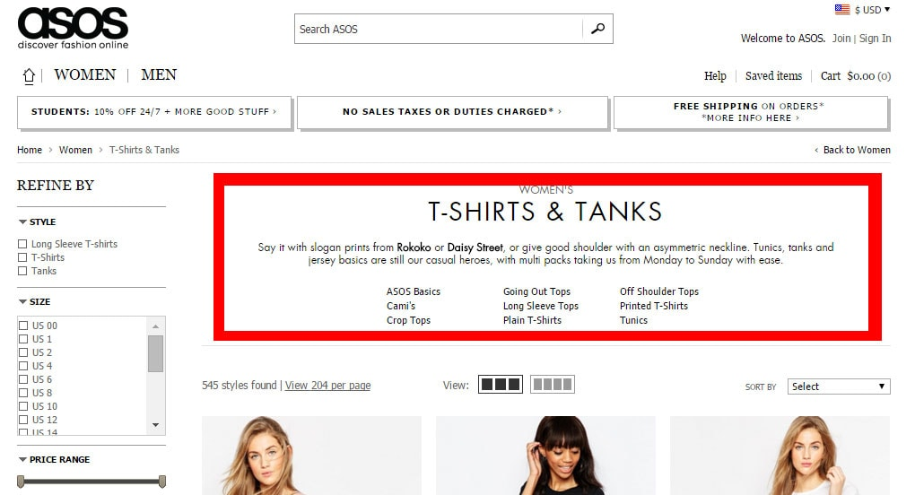 ASOS e-commerce category SEO example