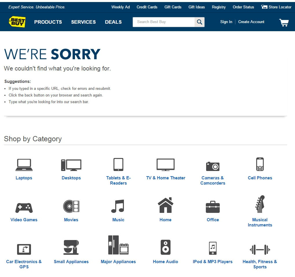 Best Buy 404 Page