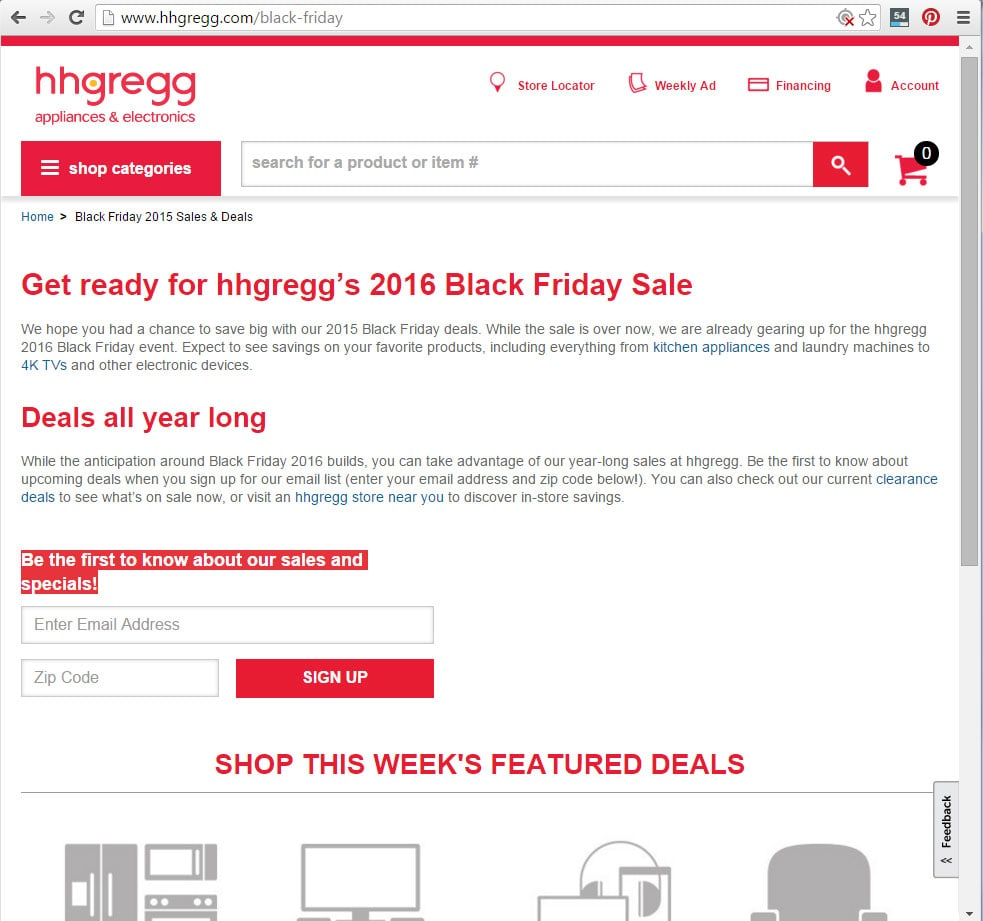 hhgregg Black Friday page example