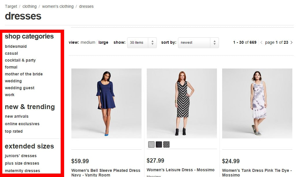 Target.com's category page sub-navigation