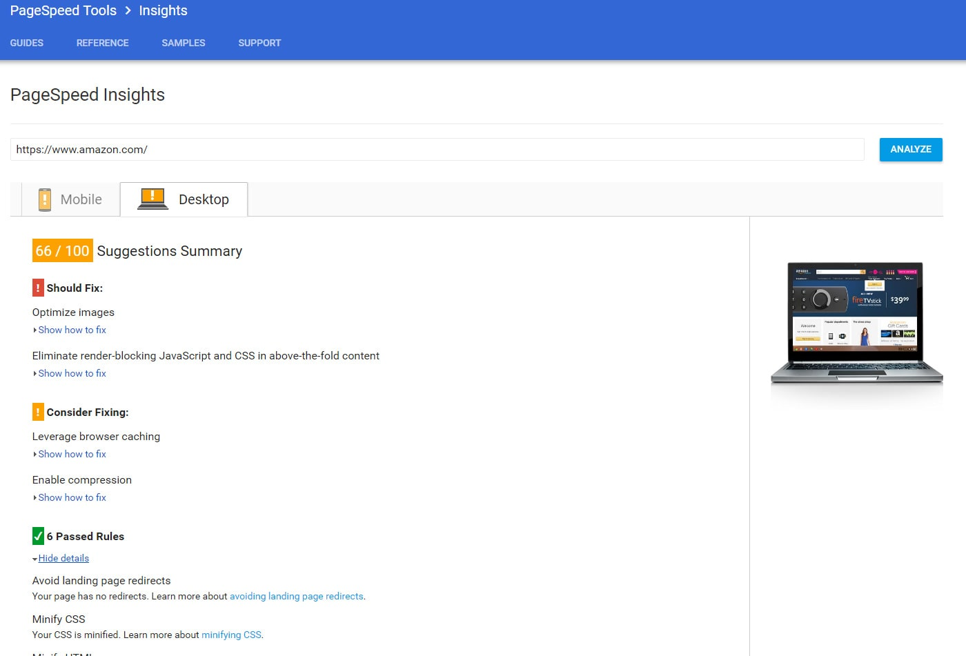 Google Page Speed Insights example screenshot