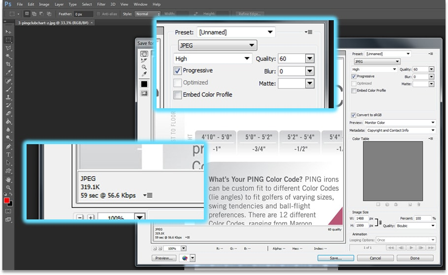 PhotoShop Save for Web functionality