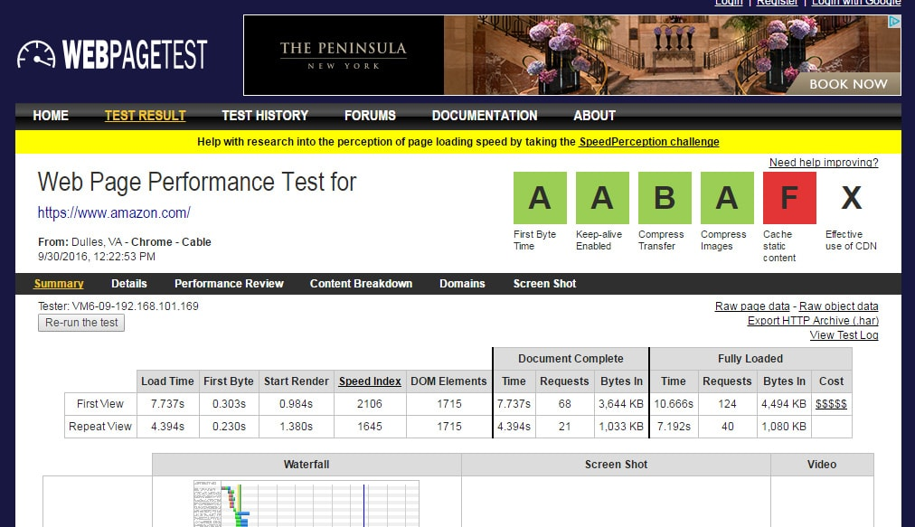 Overall site speed test result from WebPageTest.org